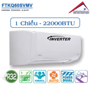 Điều hòa đaikin 1 chiều 22000btu inverter FTKQ60SVMV