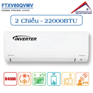 Điều hòa đaikin 2 chiều 22000btu inverter ga 410 FTXV60QVMV
