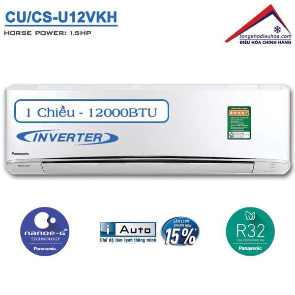 Điều hòa panasonic 1 chiều 12000btu inverter CU/CS-U12VKH