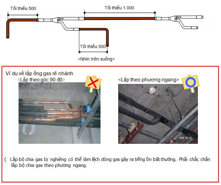 Lưu ý lắp bộ chia gas theo phương ngang