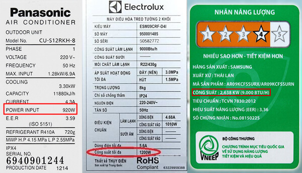 Công suất tiêu thụ điện của điều hòa