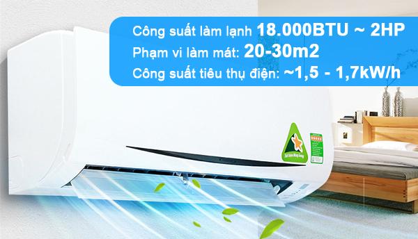 công suất tiêu thụ điện của điều hòa 18000btu