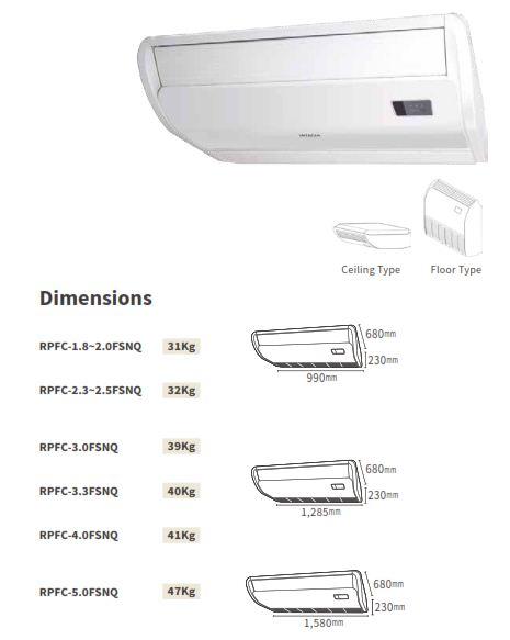 Kích thước dàn lạnh Áp sàn / Áp trần VRF Hitachi Model RPFC/FSNQ