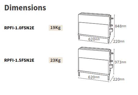Kích thước dàn lạnh Âm sàn VRF Hitachi Model RPFI/FSNQ