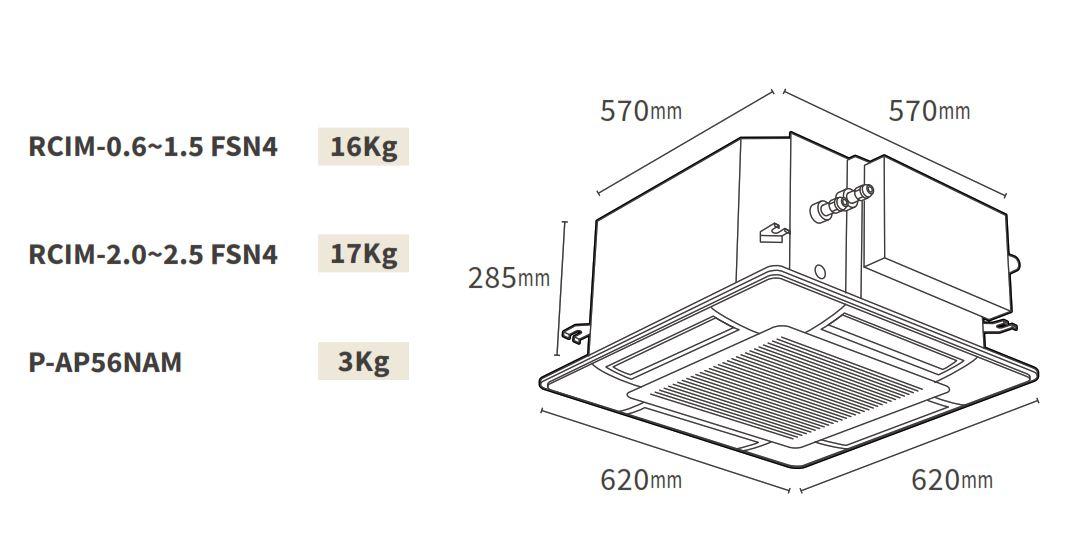 Kích thước dàn lạnh âm trần Cassette Hitachi VRF Model FSN4