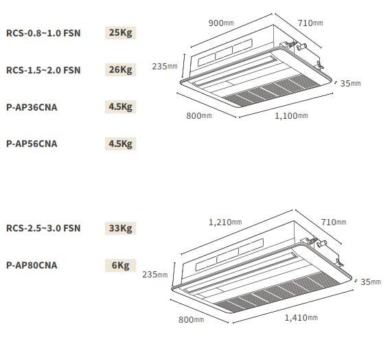 Kích thước dàn lạnh Âm trần Cassette (FSN)