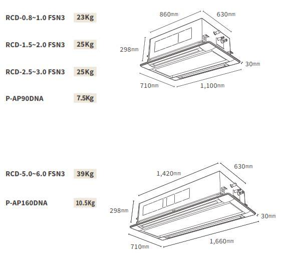 Kích thước dàn lạnh Âm trần Cassette VRF Hitachi Model FSN3