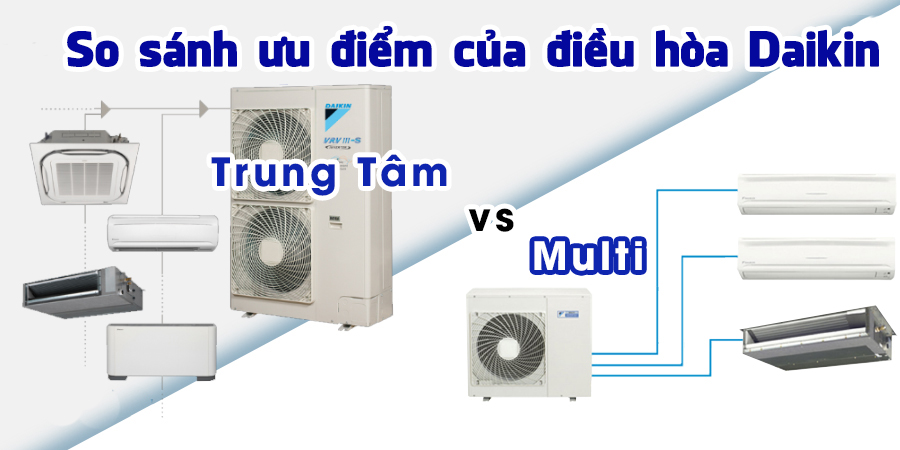 So sánh ưu điểm của điều hòa Multi Daikin và điều hòa trung tâm Daikin VRV